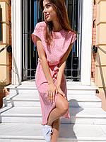 """Яркое женское платье в горошек """"Женева"""" - серое, розовое, фото 7"""