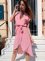 """Яркое женское платье в горошек """"Женева"""" - серое, розовое, фото 8"""