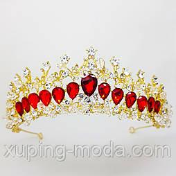 Нежная тиара, диадема, с красными камнями, свадебные аксессуары