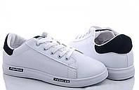 Кеди жіночі білі (кеды женские белые с черной вставкой кожзам) 1006685062