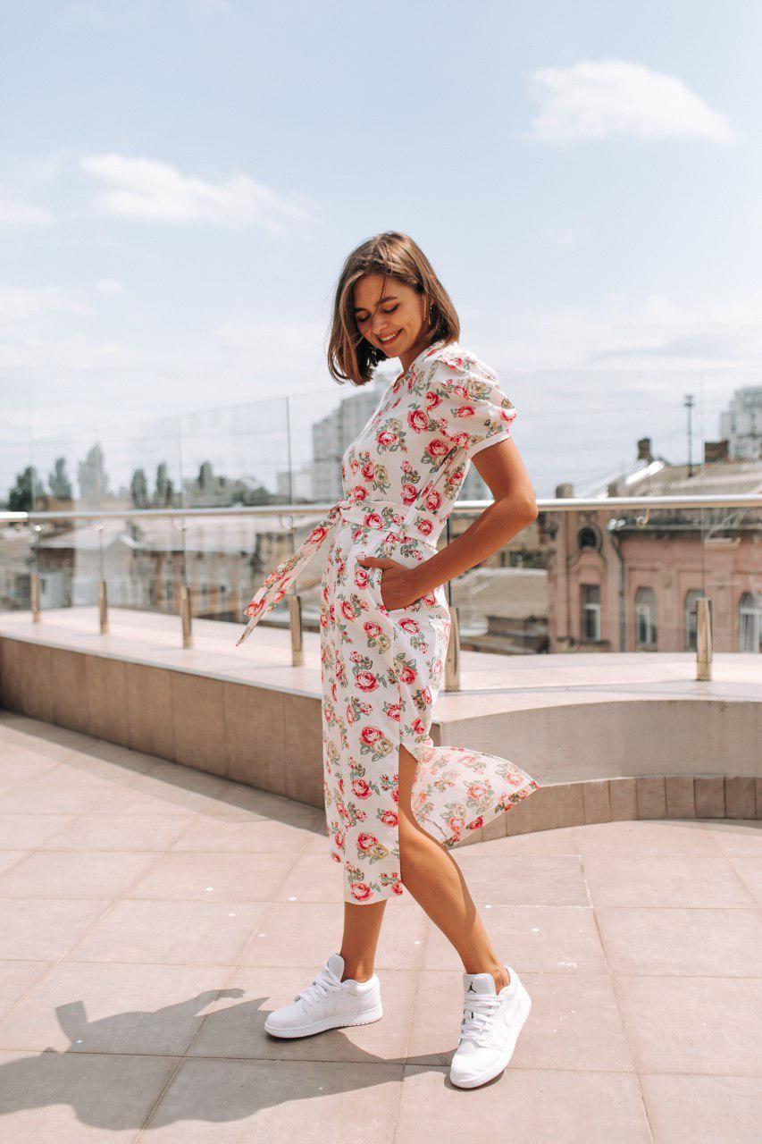Стильное платье миди с принтом - две расцветки