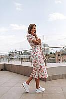 Стильное платье миди с принтом - две расцветки, фото 2