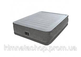 Двоспальне надувна флокірована ліжко Intex 64414 з вбудованим насосом 220V (203*152*46 см)