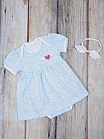 """Платье-боди для девочки с повязкой в наборе """"Крылья"""" Размеры от 62 до 86"""