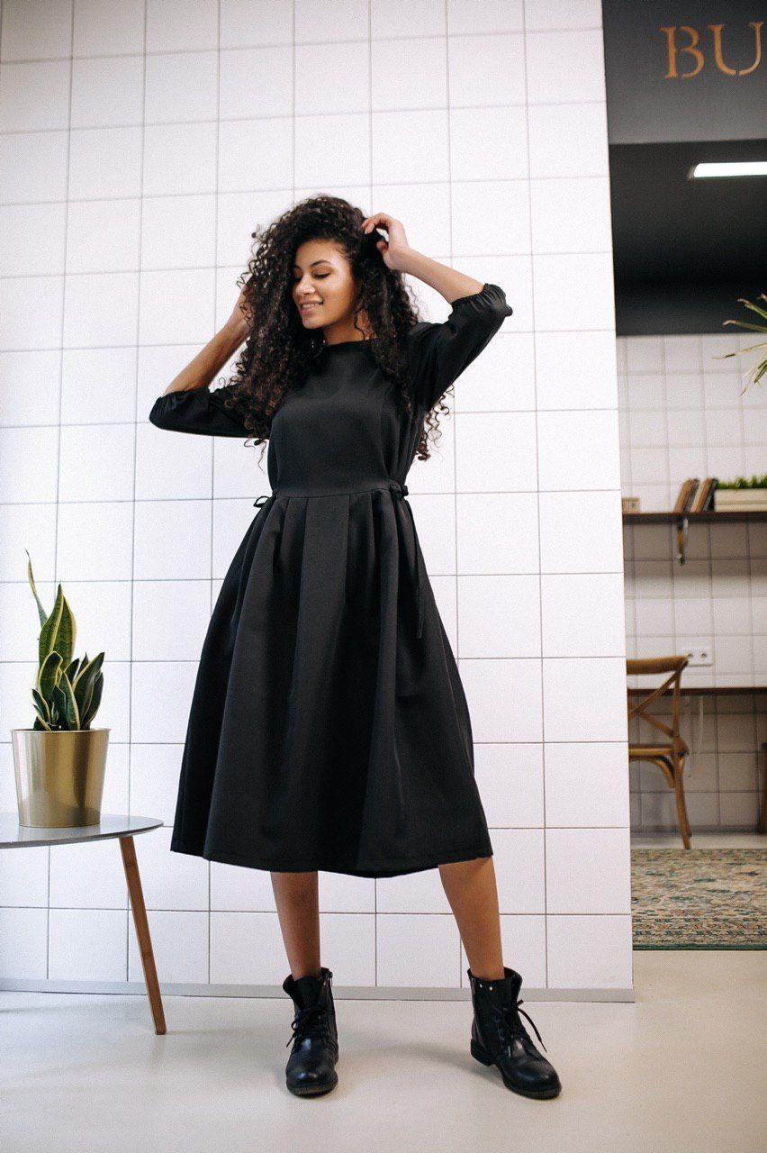 Стильное платье на завязках с карманами - чёрный