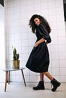 Стильное платье на завязках с карманами - чёрный, фото 4