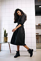 Стильное платье на завязках с карманами - чёрный, фото 3