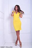 Стильное и удобное платье футляр с  карманами и глубоким вырезом Katrin