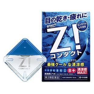 Rohto Z Contact Капли, снимающие дискомфорт при ношении любых контактных линз, индекс свежести 8, 12 мл