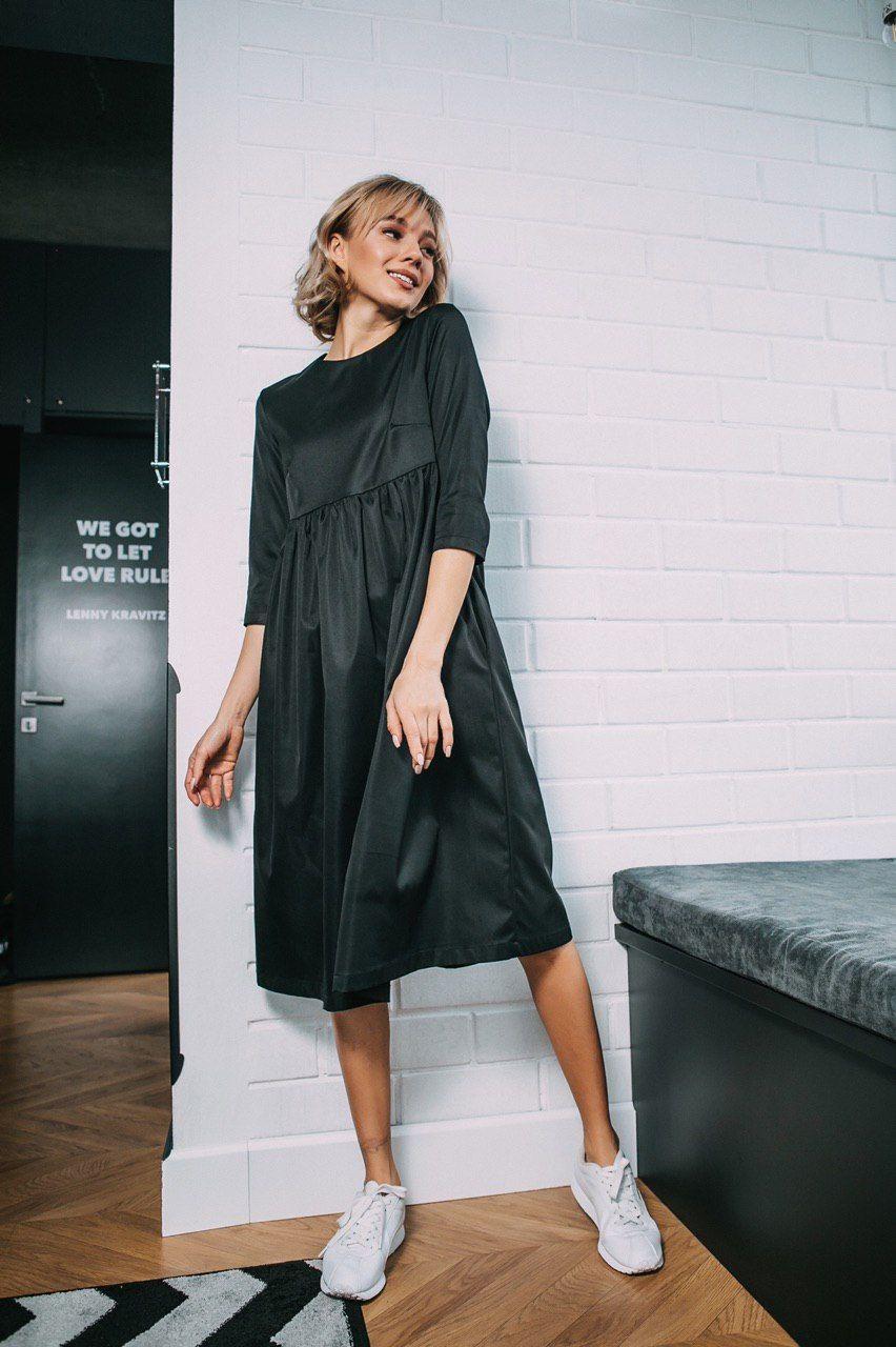 Стильное платье отрезная талия - черное