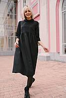 Стильное платье отрезная талия - черное, фото 4