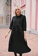 Стильное платье отрезная талия - черное, фото 3