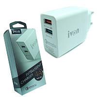 Зарядное устройство 2-USB 4000 mA iVon AD-30 quick charge 3.0 белое