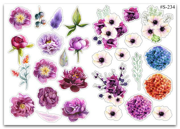 Stickers Pack Watercolor, Flowers #234