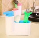 Органайзер для кухонных губок и дозатор для моющего средства (голубой), фото 3