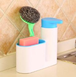Органайзер для кухонных губок и дозатор для моющего средства (голубой)