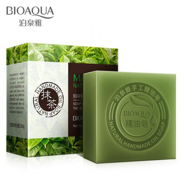 Натуральное мыло с экстрактом чайного листа и кокосовым маслом Bioaqua Matcha Natural Oil Soap 100 г