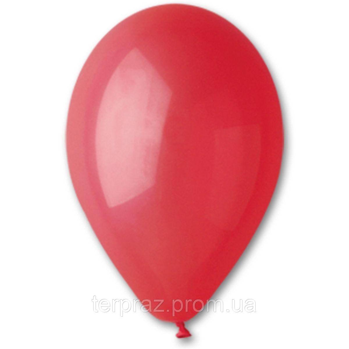 """Латексные шары круглые без рисунка 12"""" (30 см) / 45 пастель ярко-красный"""