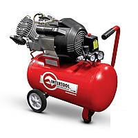 Компрессор 50 л INTERTOOL, 3 кВт, 220 В, 8 атм, 420 л/мин, 2 цилиндра PT-0007