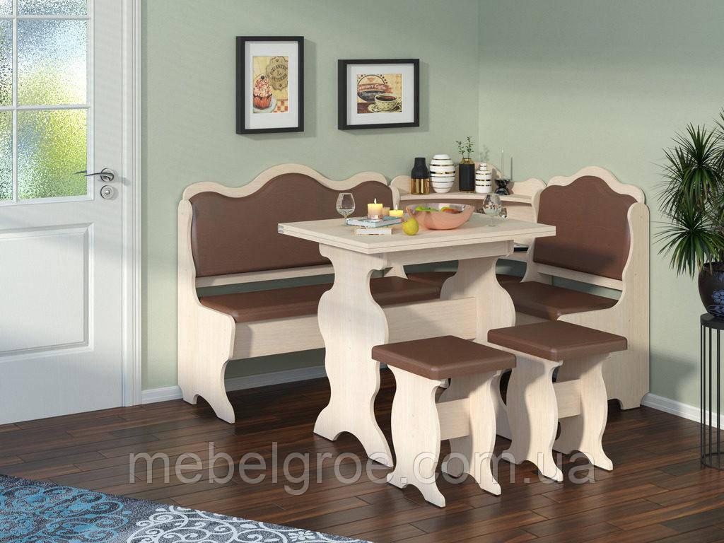 Кухонный уголок Корнет с раскладным столом и табуретами тм Пехотин