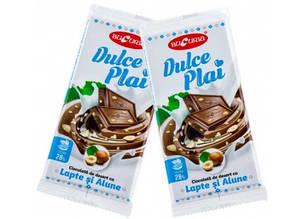 Молдавский десертный молочный шоколад DULCE PLAI CU LAPTE ȘI ALUNE 90 гр ТМ Букурия