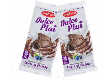 Молдавский десертный молочный шоколад DULCE PLAI CU LAPTE ȘI STAFIDE 90 гр ТМ Букурия, фото 2