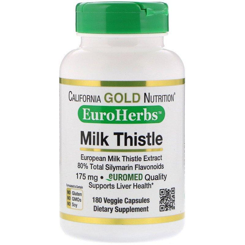 "Экстракт расторопши California GOLD Nutrition, EuroHerbs ""Milk Thistle"" с силимарином (180 капсул)"
