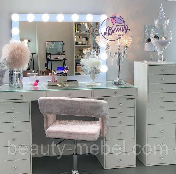 """Стол для визажиста, Профессиональный Стол для макияжа с витриной на столешнице и ручками """"Кристалл """""""
