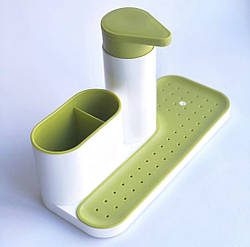 Органайзер для ванной набор - подставка для зубных щеток и дозатор для жидкого мыла (зеленый)