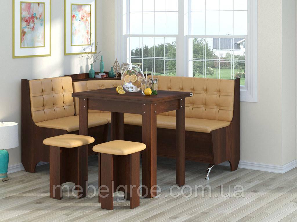 Кухонный уголок Маршал с раскладным столом и табуретами тм Пехотин