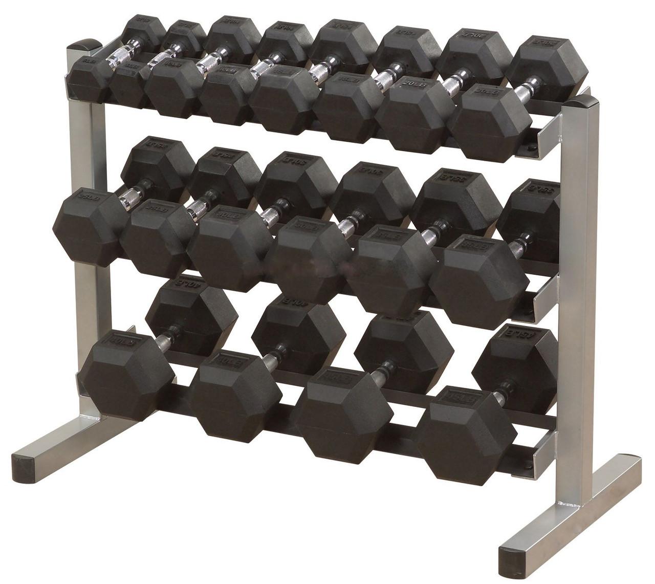 Ряд неразборных обрезиненных гантелей 1-40 кг (22 пары, шаг 1-2,5 кг)