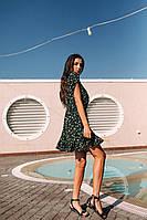 Стильное коктейльное платье мини - цветочный принт, фото 4