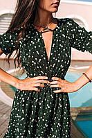Стильное коктейльное платье мини - цветочный принт, фото 3