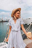 Стильное коктейльное платье мини в горошек - белое, фото 3