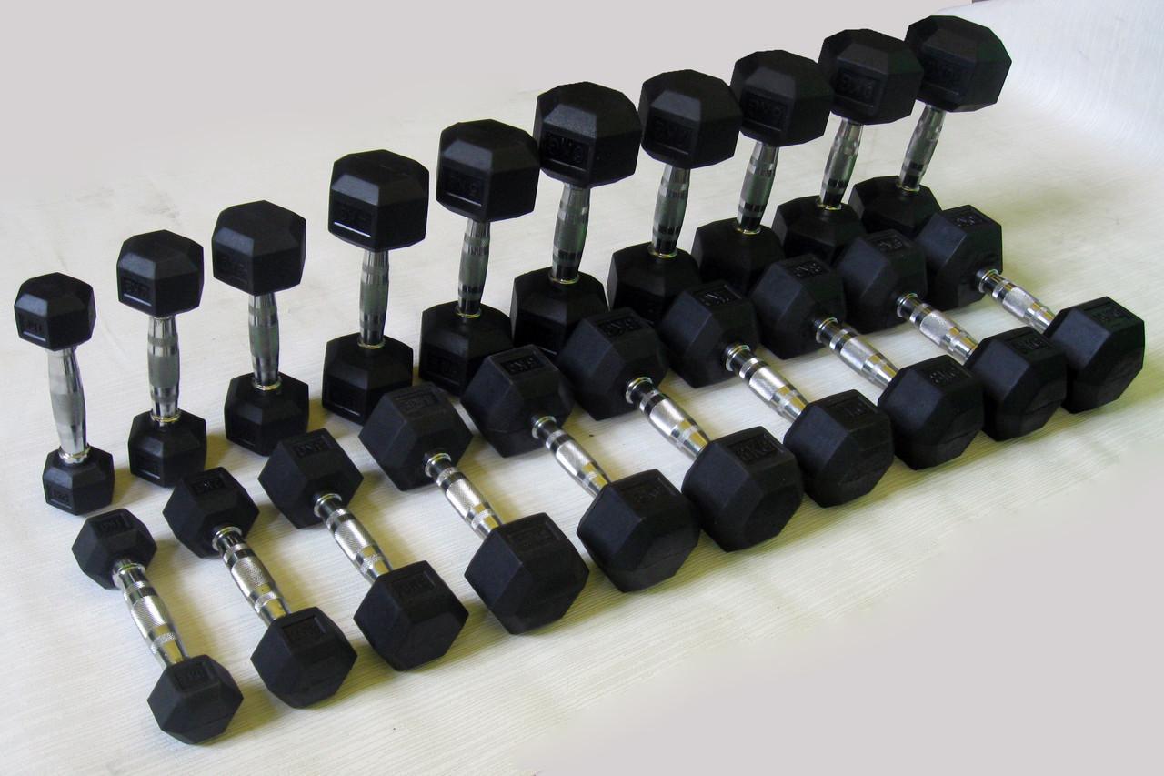 Ряд неразборных обрезиненных гантелей 1-10 кг (10 пар, шаг 1 кг)