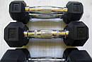 Ряд неразборных обрезиненных гантелей 1-10 кг (10 пар, шаг 1 кг), фото 3