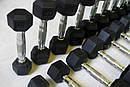 Ряд неразборных обрезиненных гантелей 1-10 кг (10 пар, шаг 1 кг), фото 4