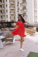 Стильное коктейльное платье мини - красное, фото 2