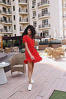 Стильное коктейльное платье мини - красное, фото 3