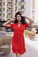 Стильное коктейльное платье мини - красное, фото 4
