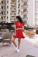 Стильное коктейльное платье мини - красное, фото 5