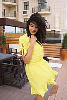 Стильное коктейльное платье мини - желтое, фото 2