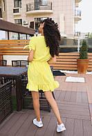 Стильное коктейльное платье мини - желтое, фото 3