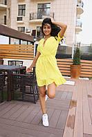 Стильное коктейльное платье мини - желтое, фото 5