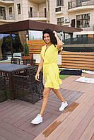 Стильное коктейльное платье мини - желтое, фото 4