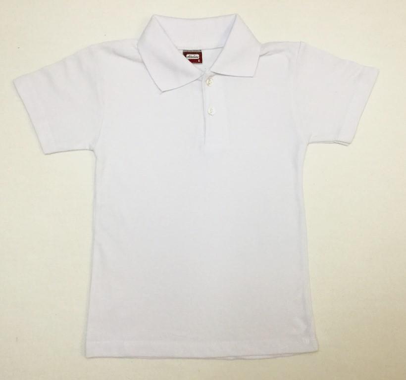 Белая футболка поло для мальчика на 6-9 лет