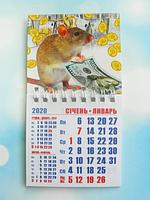 """Календарь магнитный отрывной сувенирный на 2020 г.  """"Год Крысы"""" - Арт 7"""