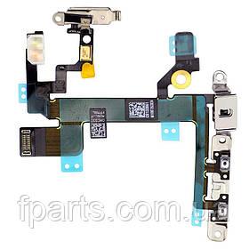 Шлейф iPhone 5S кнопка включения и регулировки громкости с металлической пластиной