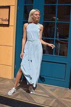 Стильно платье с американской проймой - голубое