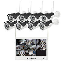 """Комплект видеонаблюдения беспроводной DVR KIT Full HD UKC CAD-1308 LCD 13.3"""" WiFi 8ch набор на 8 камер, фото 1"""